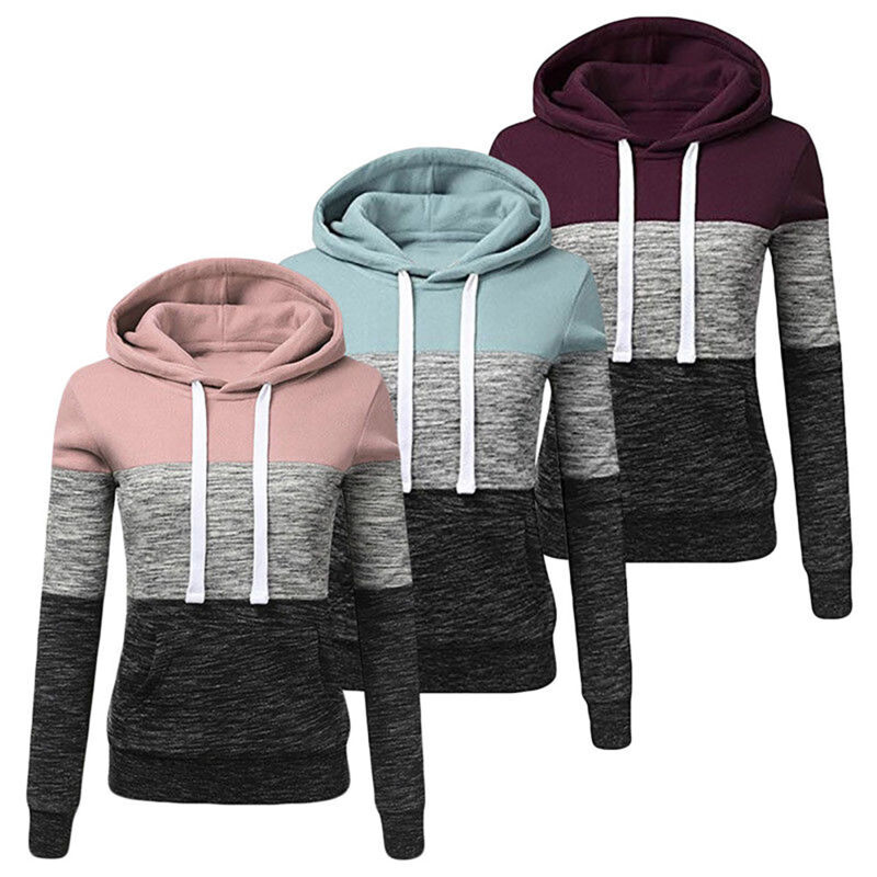 Women's Casual Hoodies Sweatshirt Ladies Hooded Long Sleeve Tops Jumper Pullover 2