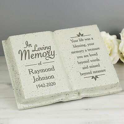 Personalised Memorial Book / Bible Plaque Garden Grave Ornament Cross Rose 9