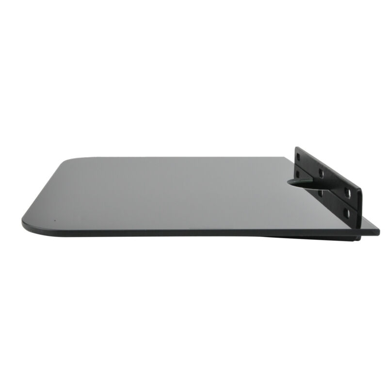1 Tier Black Glass Floating Wall Mount Shelf DVD Player Box PS4 Game Console 10