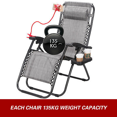 2 Zero Gravity Folding Lounge Beach Chairs Tray Outdoor Recliner Brown/Gray 6