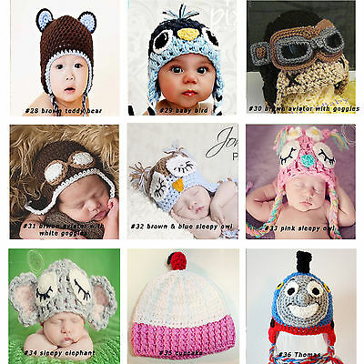 New Baby Boy Girl Crochet Beanie Costume Hat 0-3, 3-6, 6-12M,1-3Yrs Photo Props 5