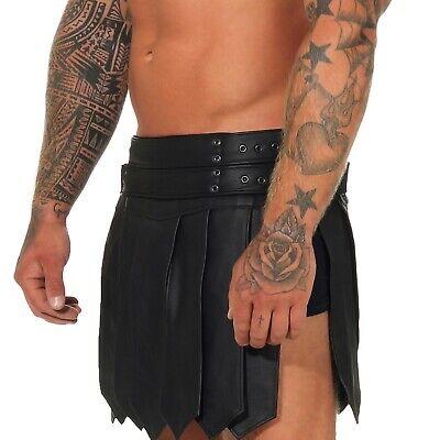 XS-XXXL*Gladiator Skirt Kilt Rock Schwarz Echt Leder 4 Schnallen & Gürtel NEU 2