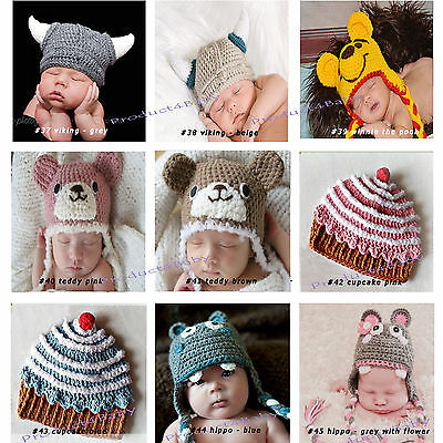 New Baby Boy Girl Crochet Beanie Costume Hat 0-3, 3-6, 6-12M,1-3Yrs Photo Props 6