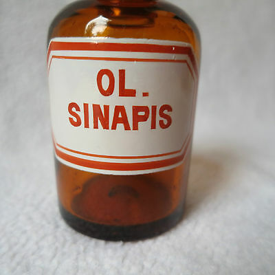 alte Apothekerflasche Braunglas mit Schliff-Stopfen Ol. Sinapis Separanda Senföl 2