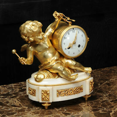 ORMOLU & WHITE MARBLE ANTIQUE FRENCH CLOCK PUTTO in CLOUDS PLAYING a DRUM C1880 2