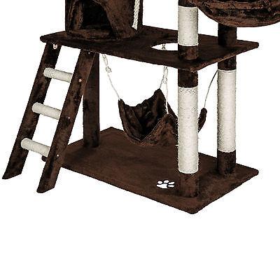 Arbre à chat griffoir grattoir geant avec hamac lit 141 cm hauteur xl marrone 6