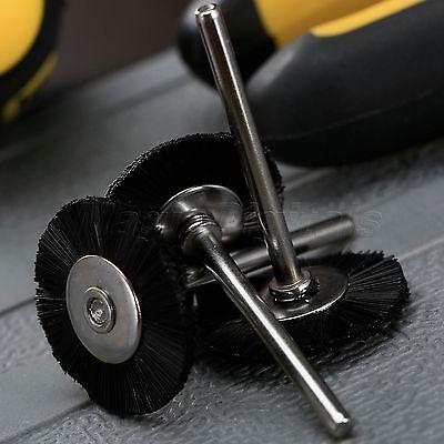 "5Pc 25mm Black Nylon Bristle Wheel Wire Brush 1/8"" Shank For Grinder Rotary Tool 6"