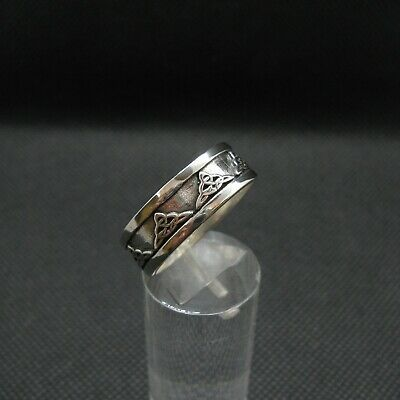 Punziert Sterlingsilber Echt Amethyst Birne Keltischer Ring Uk-Herstellung