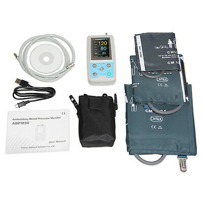 FDA 3 CUffs Ambulatory Blood Pressure Monitor Digital 24 Hours NIBP Holter + CD 2