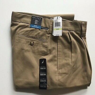 NWT Men/'s Nautica Rigger Double Pleated Classic Fit Pants New Khaki Navy New