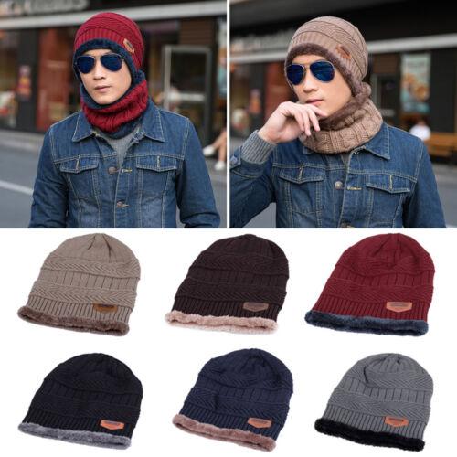Men Women Winter Crochet Knit Beanie Wool Skull Hat Thermal Ski Cap Scarf Unisex 4