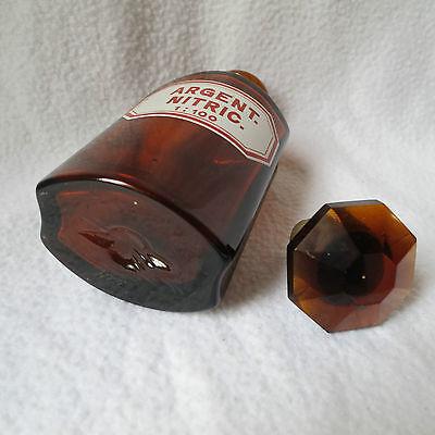 alte Apothekerflasche mit Schliff-Stopfen Argent. nitric. emailliert achteckig 7