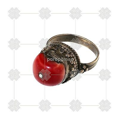 (1329) Tibetan coral and silver ring 5