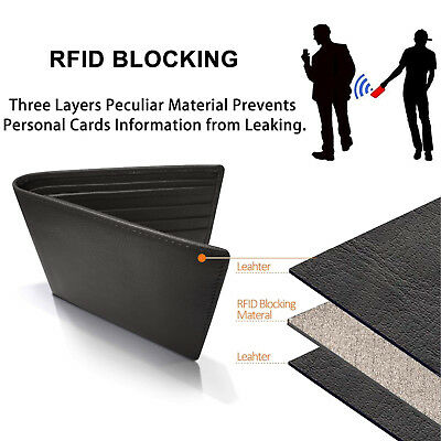 Trifold Wallet RFID BLACK GENUINE LEATHER LUXURY BIFOLD SLIM MENS ID NEW 5