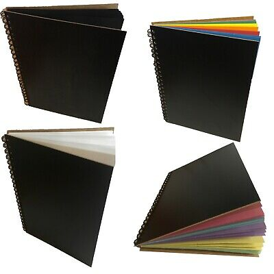 Eco-Arts BLACK WOODEN COVER RECYCLED SKETCH BOOK SCRAPBOOK  PAD HARDBACK UK MADE