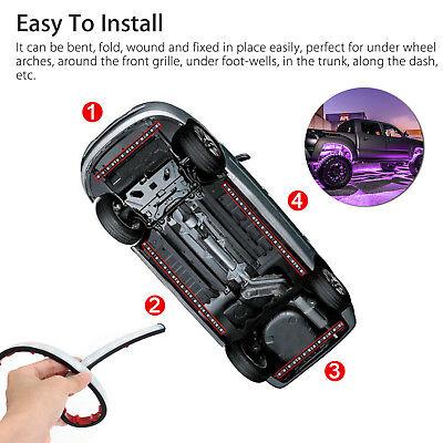 8 Color LED Strip Under Car Tube underglow Underbody System Neon Lights Kit 4