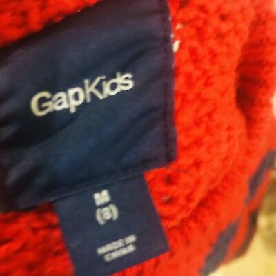 Gap Kids Boys Size Medium 8 Navy Blue and Red  Striped  Sweater