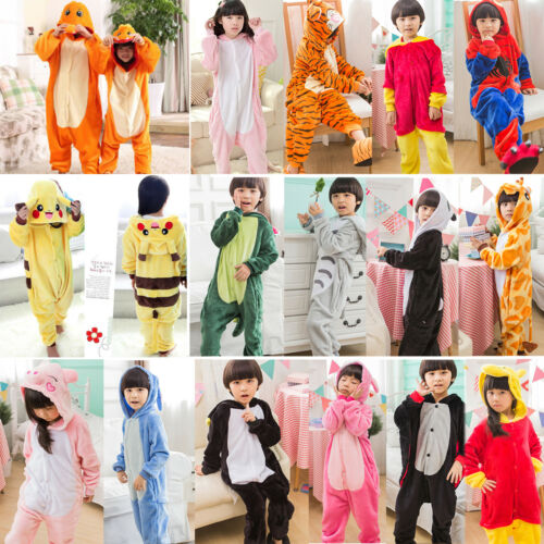 Kids Girls Boys Unicorn Animals Kigurumi Cosplay Costume PJ's Sleepwear Overalls 3