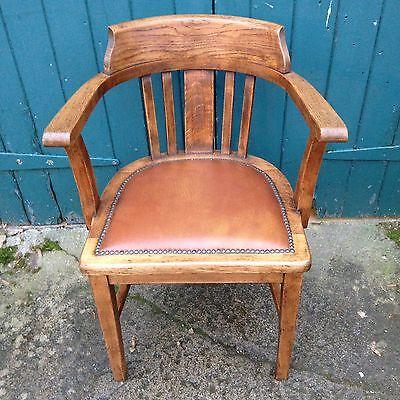 Antique Oak & Leather Desk Office Study Captains Cabin Chair Armchair 3