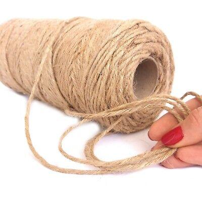 100Mts Rustic Natural Jute Hessian Burlap Twine String Ribbon Cord Gift Wrap Tie
