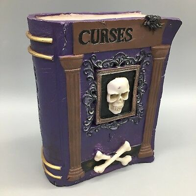 "Witch Skull Crossbones Curse Spell Book LED Lighted Halloween Prop Decor 8/"" NEW"