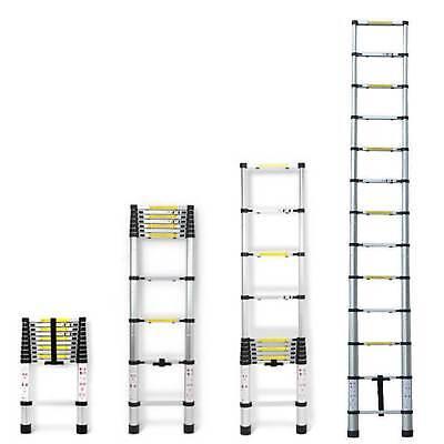 Folding 12.5FT Multi Purpose Telescopic Extension Ladder Aluminum Heavy Duty 3