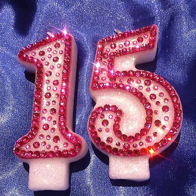 seven 7th Seventh Birthday CANDLE Diamante Bling Pink Princess Party FREEPOST