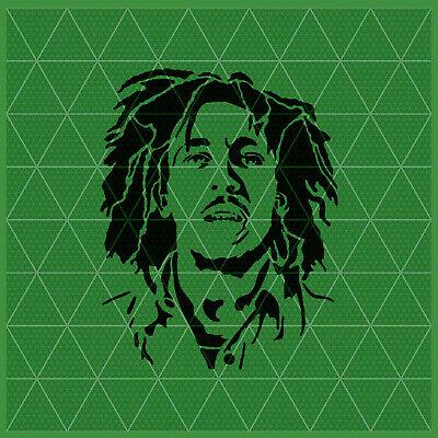 14x11-11x8.5-5x4 Reusable Weed Leaf Template Bob Marley Stencil