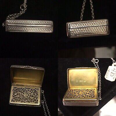 Antique 19th C Georgian Solid Silver vinaigrette Box Birm 1837 By Nathanel Mills 3
