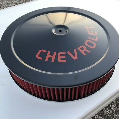 Chevrolet Air Cleaner BLACK// RED Logo WITH RED WASHABLE FILTER Chevelle Camaro
