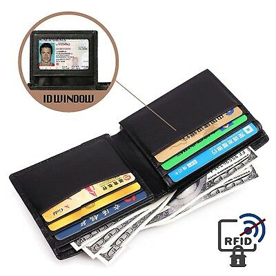 Gift Box For Men High-End Build RFID Blocking Trifold Bifold 11 Pocket ID Window 8