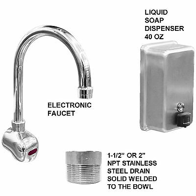 "Hand Sink Stainless Steel 5 Users 108""=9'  Electronic Faucet (2) 2"" Npt Drains"