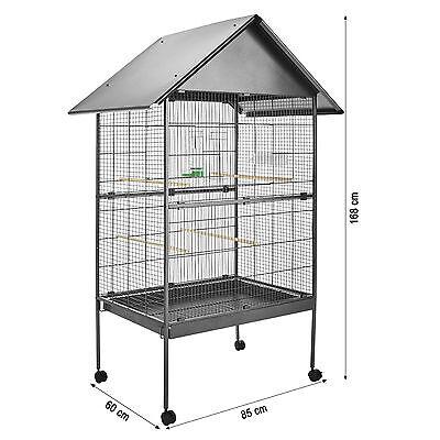 Volière cage à oiseaux sur roulettes perruches perroquets spacieux 168x85x60 cm 3
