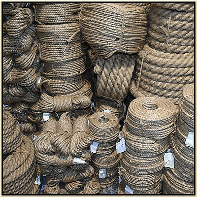 100% Natural Jute Hessian Rope Cord Braided Twisted Boating Sash Garden Decking 2