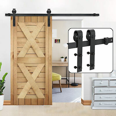Sliding Barn Door Hardware Kit 6.6FT Modern Closet Hang Style Track Rail Black 9