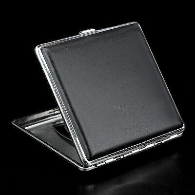 Stainless Steel+Pu Cigar Cigarette Tobacco Case Pocket Pouch Holder Box OZ 2