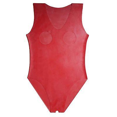 Latex Catsuit in rot, Schritt und Brust offen, Einheitsgröße