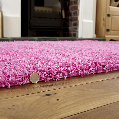 Modern Small Extra Large Pink Colour Thick 5Cm Pile Non-Shed Shaggy Rug Runners 2