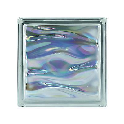 6 Stück Glasbausteine Glasbaustein Glassteine AQUA PERLMUTT Ametist 19x19x8cm