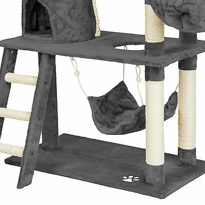 Arbre à chat griffoir grattoir animaux geant avec hamac lit 141 cm hauteur gris 6
