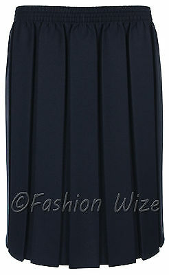 Ages 2-20 Girls School Skirt Box Pleated All round Elasticated Knee Length Grey 5