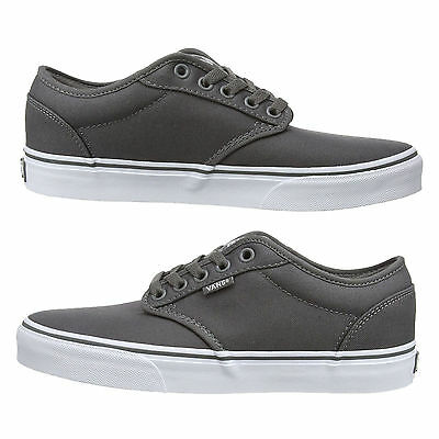 30127cb5fa ... VANS Atwood Mens Canvas Skater Trainers Plain Shoes Lace Up Plimsolls  Grey White 3