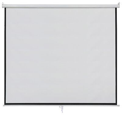 100 Inch 16:9 Manual Pull Down Projector Projection Screen Home Theater Movie 10