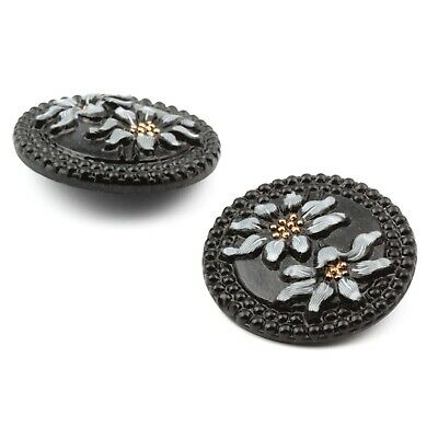 Lot (2) Czech vintage hand painted floral black glass buttons 27mm 2