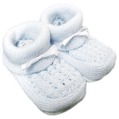 New Baby Babies Boy Girl Knitted Booties White Pink Blue Cream Size NB-3M Shoes 7