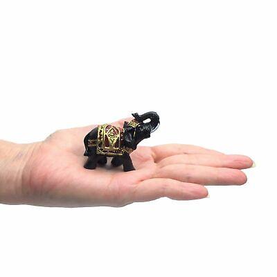 Set of 4 Feng Shui Black Thai Elephant Statues Lucky Figurine Gift & Home Decor 3