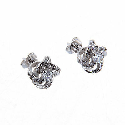 Womens Swirl Earrings Sterling Silver Plated Round Stud Studs Crystal Jewellery