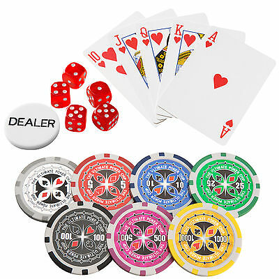 Pokerkoffer Pokerset 500 Chips Laser Pokerchips Poker Set Jetons Alu Koffer Schw