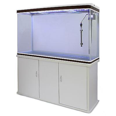 Fish Tank Aquarium Complete Set Up Tropical Marine 4ft 300 Litre White Cabinet 7