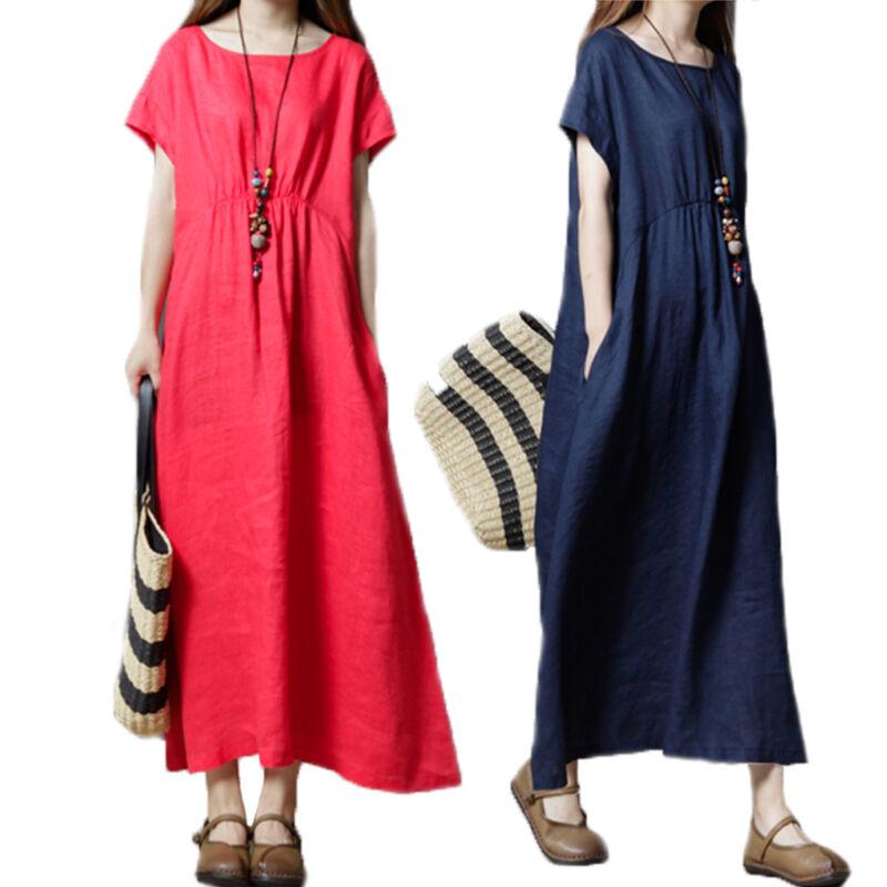 Plus Women Summer Baggy Cotton Linen Casual Loose Long Maxi Dress Boho Kaftan UK 7